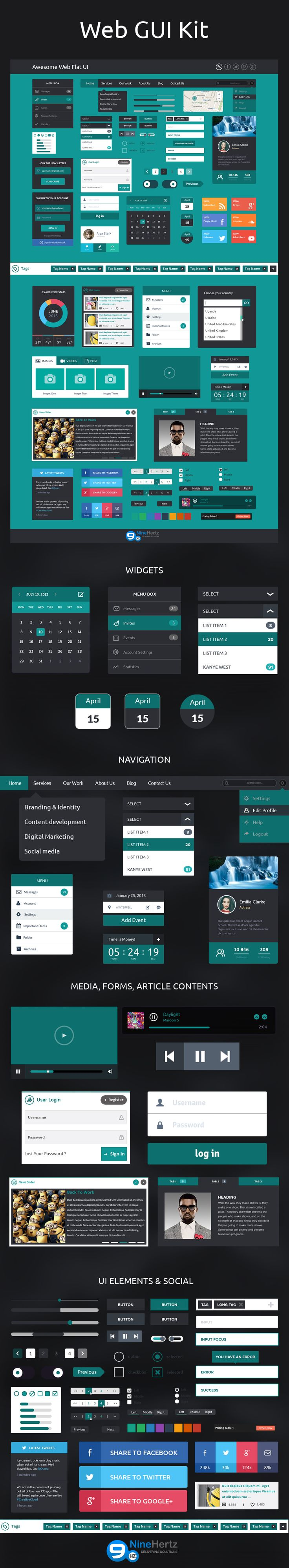 Flat design is popular in web. All required elements to design a web flat UI is free to download with original PSD designed by Nine Hertz Expert Designers.