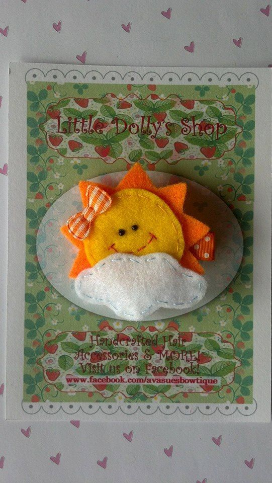 Hand Stitched Felt Sun on White Cloud Weather by LittleDollysShop, $4.25