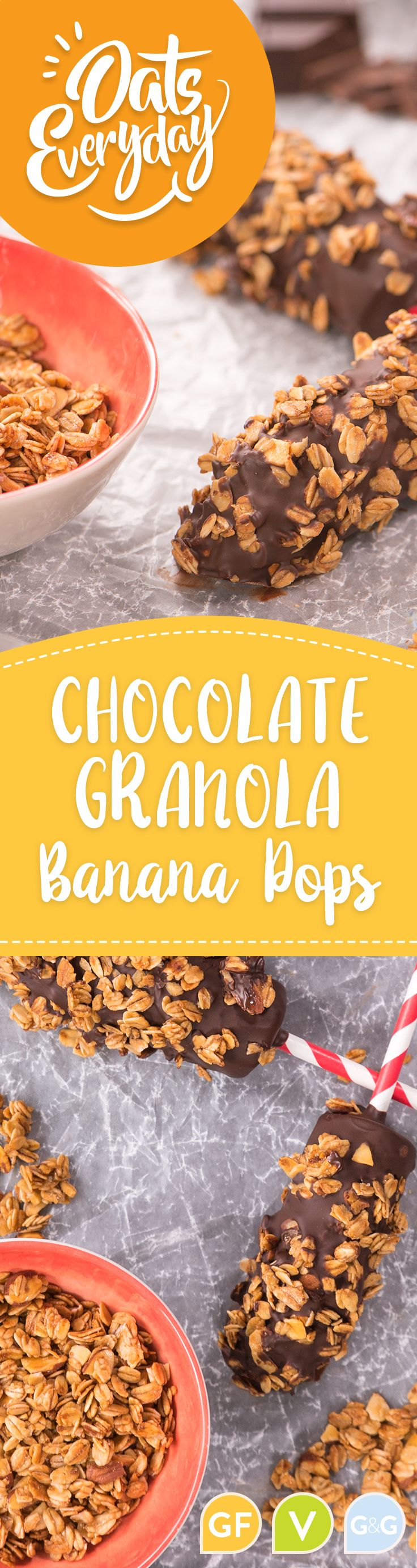 Chocolate-dipped banana pops with crunchy granola.