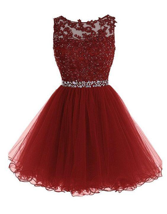 Prom Dress,Short Prom Dresses,Burgundy Homecoming Dress, Elegant Graduation