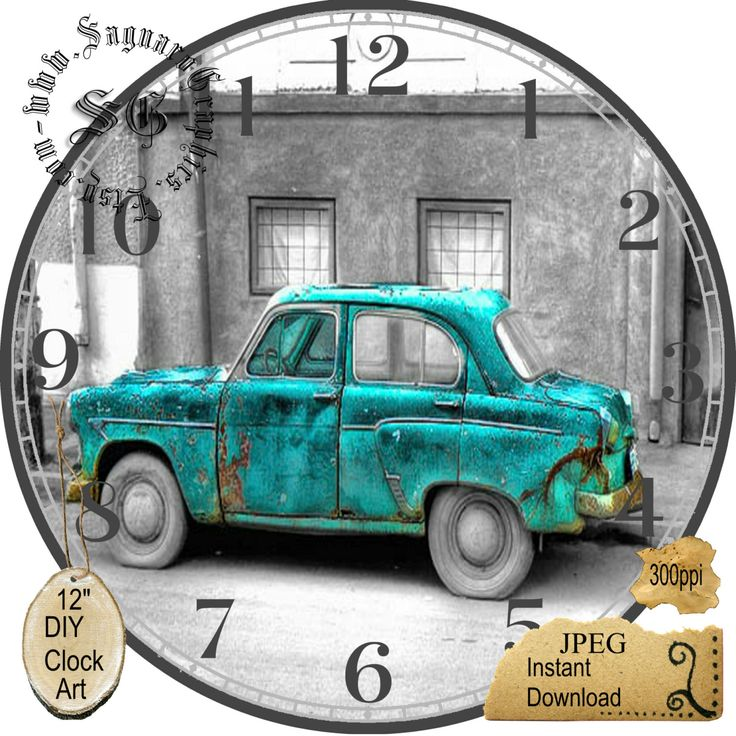 """Old Teal Green Car Art --DIY Digital Collage - 12.5"""" DIA for 12"""" Clock Face Art - Crafts Projects by CocoPuffsDesigns on Etsy"""