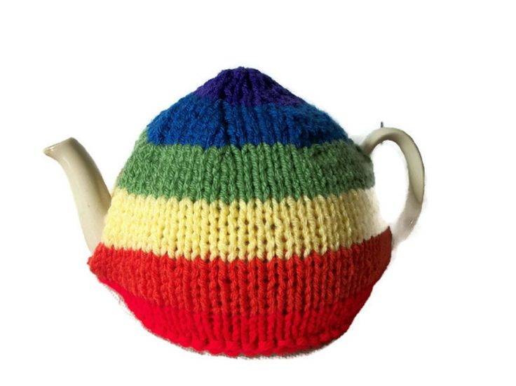 Rainbow+Tea+Cosy,+Gay+Pride,+Hand+Knitted, £15.99
