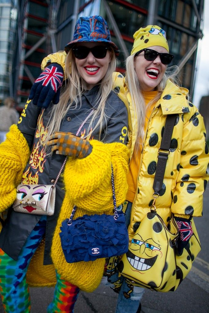 Fashion Week street style. The Beckerman blogger twins at London Fashion Week Fall 2015 #LFW