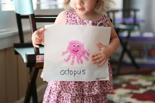 Octopus Handprint Under the sea Craft