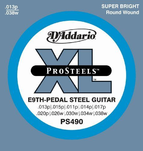 D'Addario PS490 Pedal Steel Strings, E-9th by D'Addario. $9.73. From the Manufacturer                PS490 pedal steel strings for E-9th tuning offer a super-bright, crunchy tone and corrosion resistance for longer string life.D'Addario XL ProSteels utilize a highly magnetic, corrosion-resistant steel alloy that delivers super-bright tone without shrill overtones. They offer a palette of harmonically rich, brilliantly penetrating highs combined with pronounced, ti...