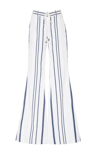 Roberto Cavalli'S Blue & White Striped Pants. They're Cut from Crisp Cotton with a Wide Flared-Leg Silhouette and a Front Lace-Up Closure. I'm showing them with a Neon Yellow Tank Top. Bring on the Fun with Colorful Palm Tree Earrings & Charm Bracelet plus a Peridot Ring. Keep your cool with a Blue Straw Brim Hat and Green Suede Sandals. You can carry all of your gear in a Straw Tote (It's all on this board). You are the Heart & Soul of Summer! - Gabrielle