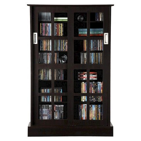 Atlantic Windowpane Cabinet Media Storage Media Storage Espresso