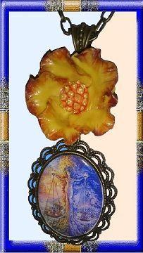 25 € ❄ B012 ❄ VENTE EN LIGNE sur ALittleMarket #GabyFéerie #bijoux #collier #signeduzodiaque #fleur #porcelainefroide #mythologie #noel #fetedesmeres #fantasy #faitmain