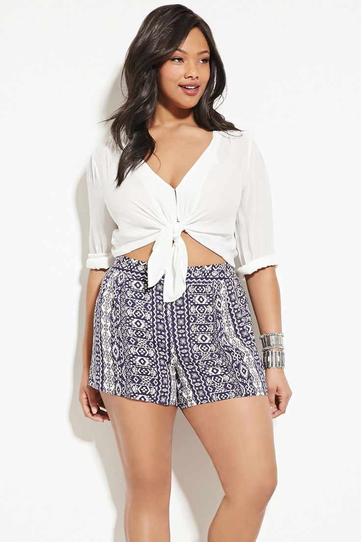 Forever 21+ - A pair of woven shorts with an elasticized back waist and an allover abstract print.