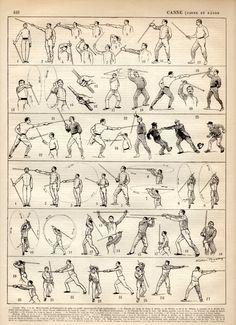 Combattimento con il bastone, Canne de combat, antica stampa litografia 1897, stampa di armi, La Canne Poster, arti marziali, Bartitsu, sport di combattimento