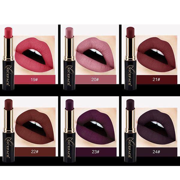 NICEFACE Shimmer Metallic Matte Velvet Lip Stick Makeup Long Lasting Waterproof Moisturizer Online - NewChic