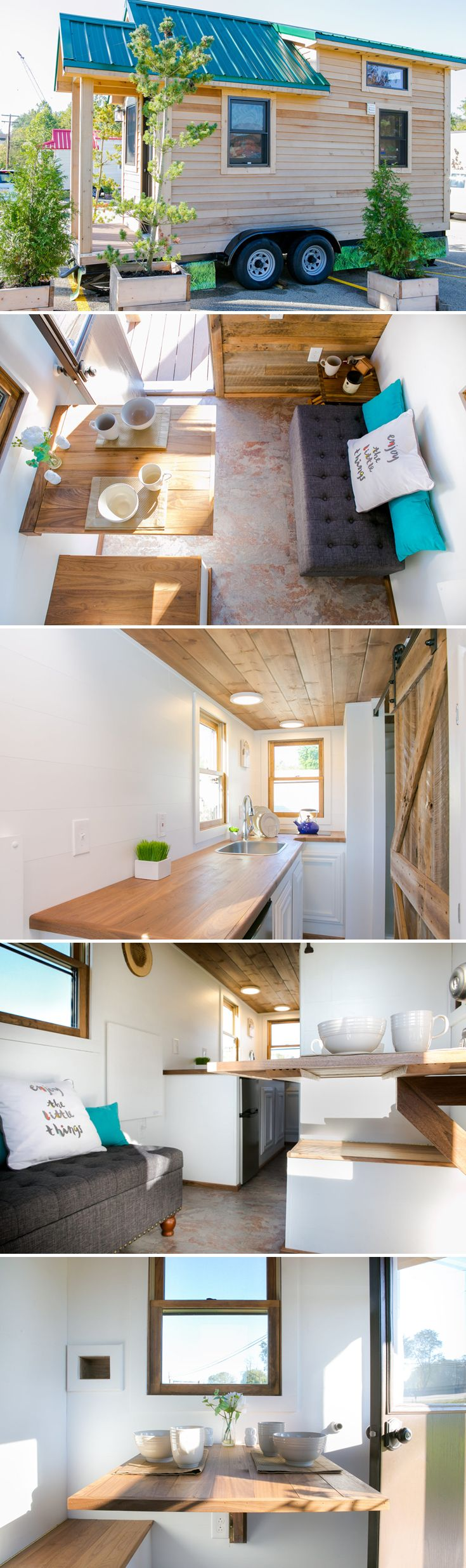 The Roving is a 154 sq.ft. tiny house by 84 Lumber featuring a reclaimed wood accent wall, walnut stained vaulted ceiling, and custom designed barn door.