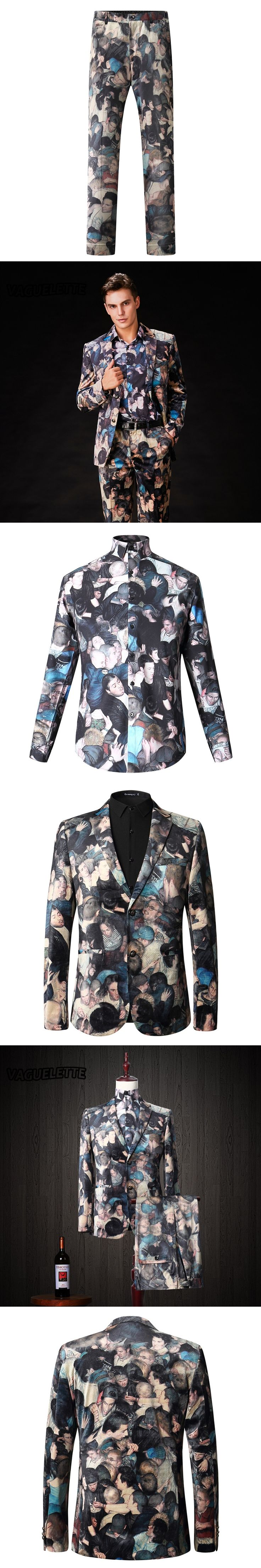 Elegant 3 Piece Suit Slim Fit Wedding Stage Wear 3D Printed Costume Homme Mariage Casual Luxury Mens Suit Italian M-3XL