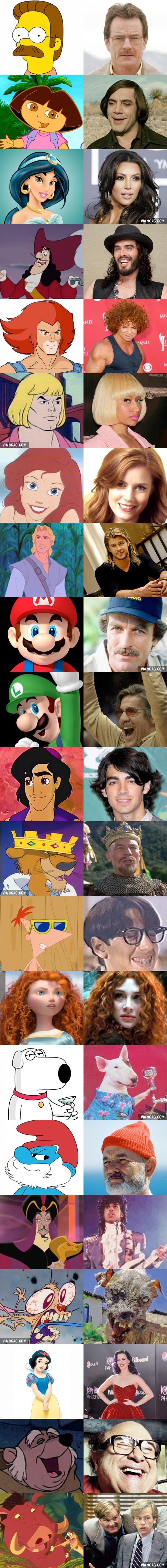 Famous Cartoons And Their Celebrity Doppelgängers