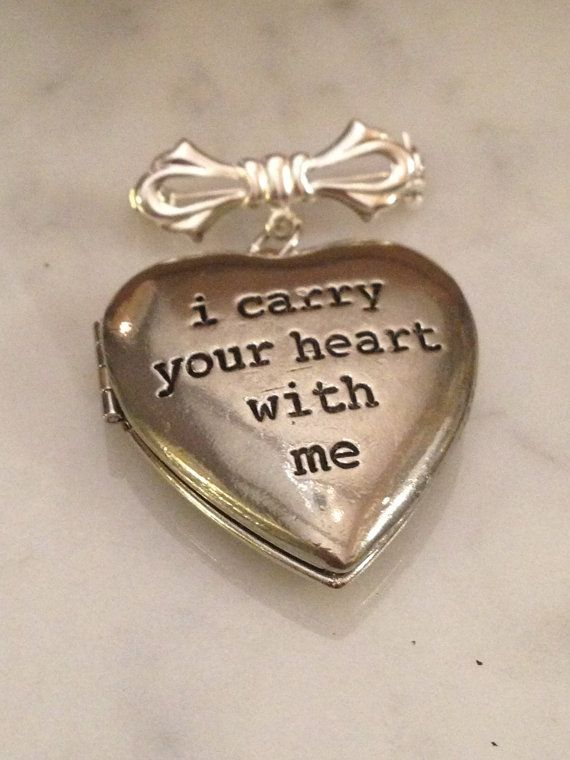 Bridal Bouquet Charm Locket - ee cummings. i carry your heart with me. Memorial Locket