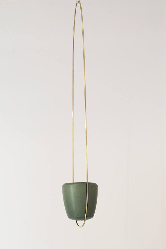 Brass Wire Plant Hanger With Ceramic Pot Hand Made Brass Hanging Planter With Earthenware Size 34 X5 5 Metal Plant Hangers Plant Hanger Ceramic Pot