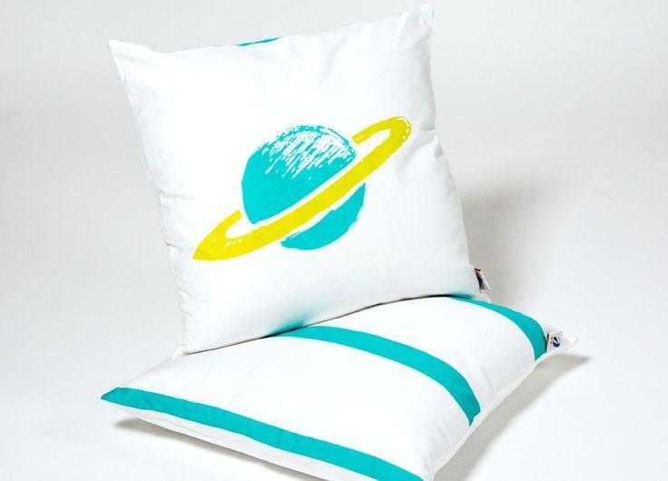 Planet Kid Cotton Throw Pillow
