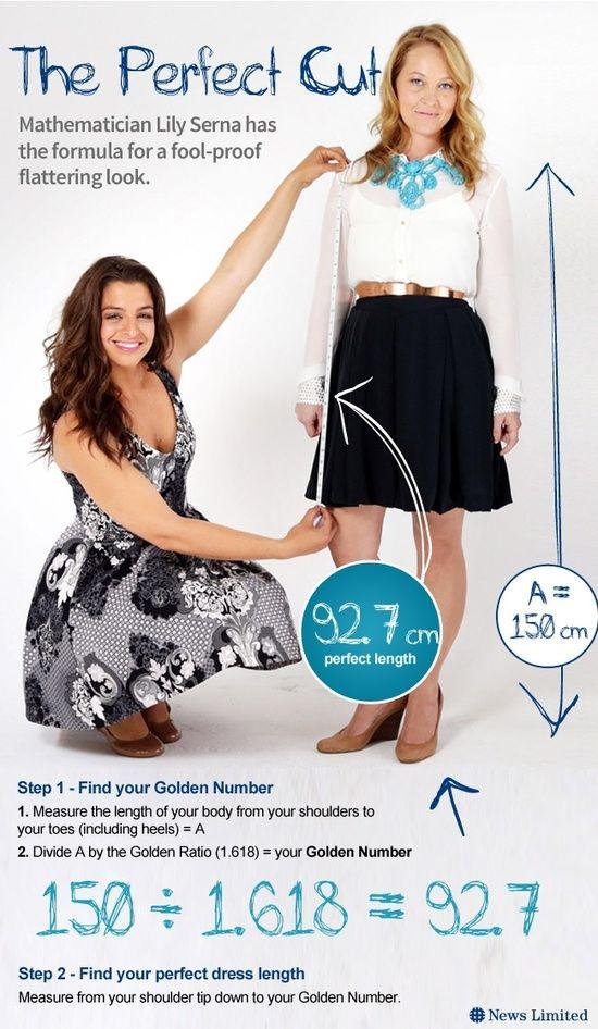 Para saber el largo de falda que más te favorece: medir desde tu hombro hasta el suelo y esa medida dividirla por 1.618; el resultado es tu largo de falda ideal