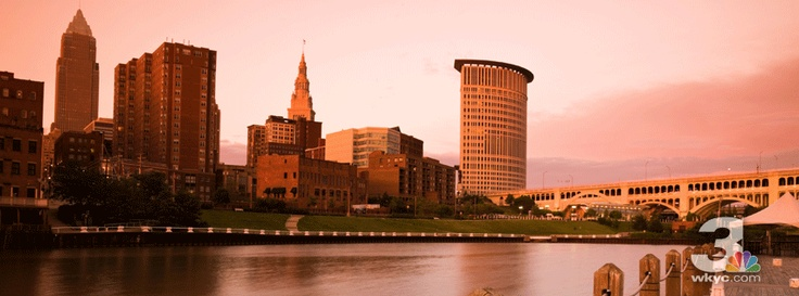A beautiful sunset over downtown Cleveland.