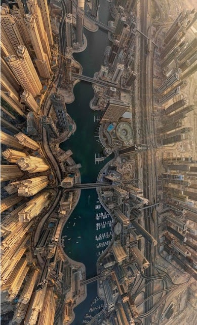 Dubai Marina pictured from above. I can check this off the bucket list... Been there seen that!