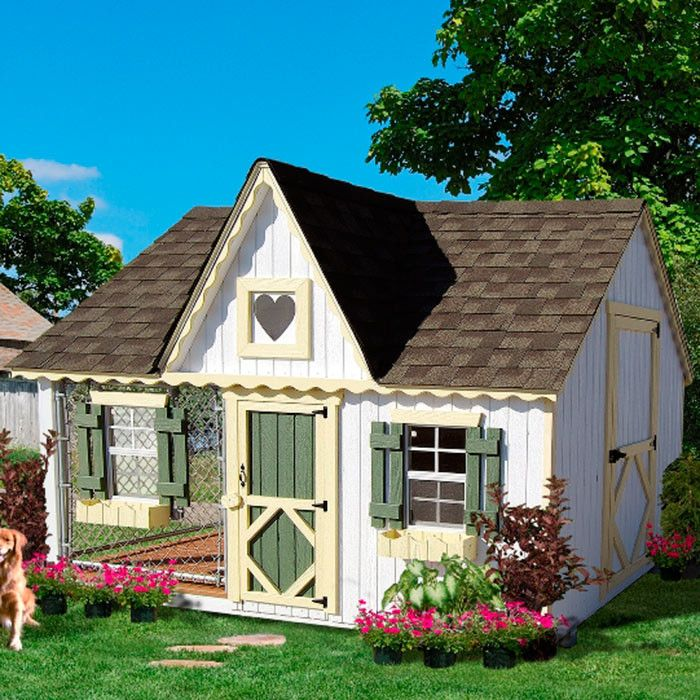 Features:  -Victorian cottage kennel panelized kit.  -Wood wall framing, wood trusses.  -High quality siding and trim refastened onto wall panels (insures panels are square).  -Gingerbread trim refast