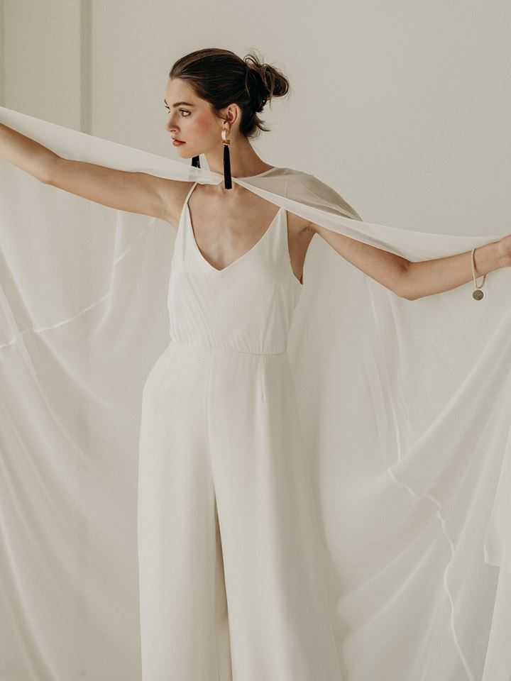 The Lily Jumpsuit In Silk Charmeuse And Heavy French Crepe With A Chiffon Cape Lena Medoyeff Br Little White Dresses Bridal Jumpsuit Wedding Dresses Simple