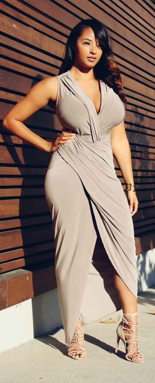 Nude Summer Wrap Maxi Dress