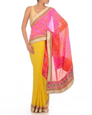 Blazing Yellow Brocade Sari with Candy Pink & Magenta Bandhani Pallu