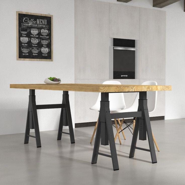 Tavoli da cucina - Tavolo Gregg in legno massello per sala da pranzo, in 4 finiture legno. Design moderno e minimale. Arredo cucina 100% made in italy