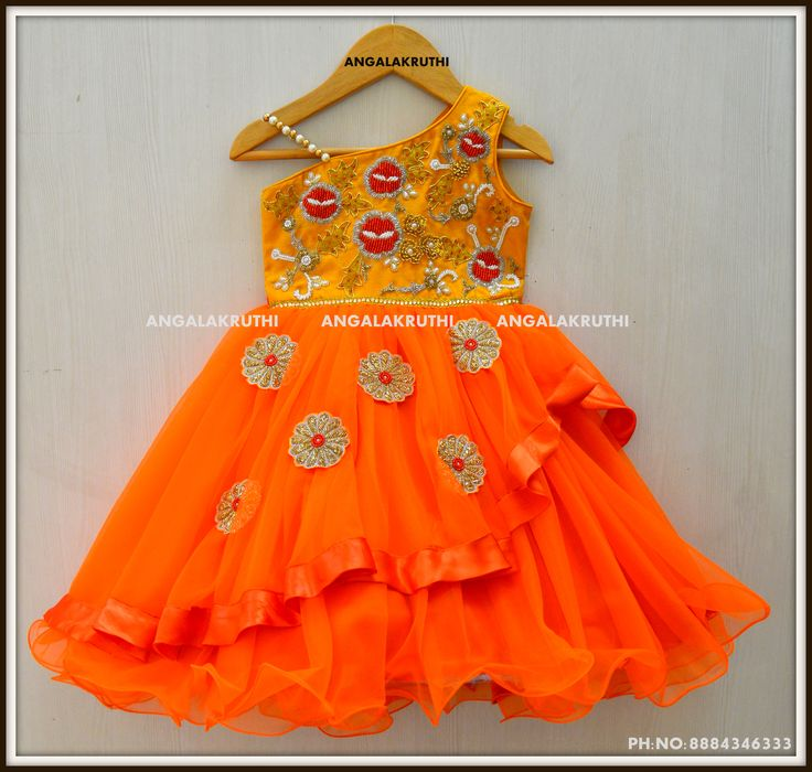 #Orange and yellow Kids Frock with hand Embroidery by Angalakruthi_Bangalore #Kids designer frocks with hand embroidery  #1 YEAR GIRL FROCK DESIGNS #GIRL'S FROCK DESIGNS BY ANGALAKRUTHI WATSAPP:8884347333
