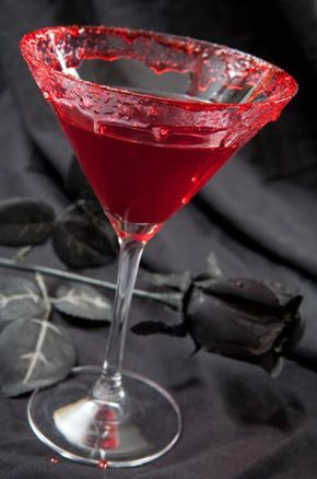 Vampire Kiss - 1 oz. vodka | 1/2 oz. Chambord (raspberry liqueur) | 3 oz. cranberry juice | a splash of lime juice. with ice.