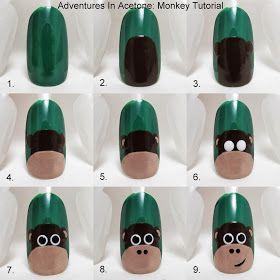 Adventures In Acetone: Tutorial Tuesday: Monkey Nail Art!