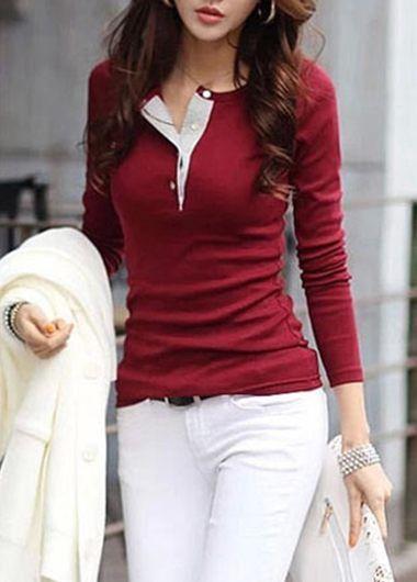 Long Sleeve Button Closure Red T Shirt on sale only US$25.43 now, buy cheap Long Sleeve Button Closure Red T Shirt at lulugal.com