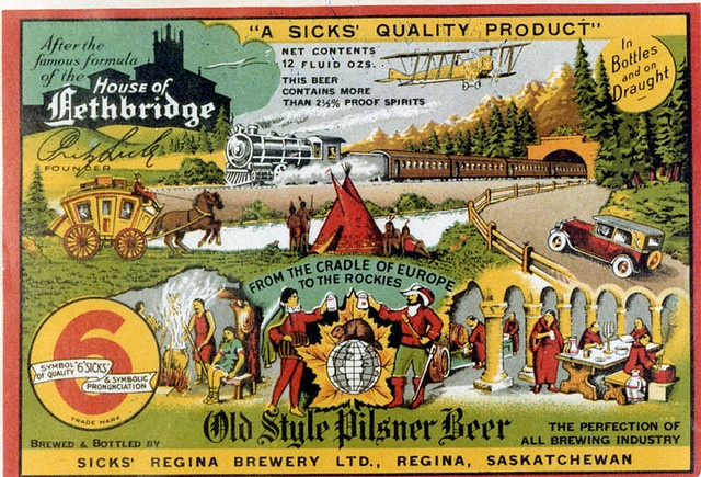 """Beer Bottle Label From The Sick Brewery (1905 -1950) """"Old Style Pilsner Beer"""" brewed and bottled by Sick's Regina Brewery Ltd. In 1902 Fritz Sick arrived in Lethbridge and founded the Lethbridge Breweries Limited. The business eventually expanded to include breweries throughout Western Canada and the US."""