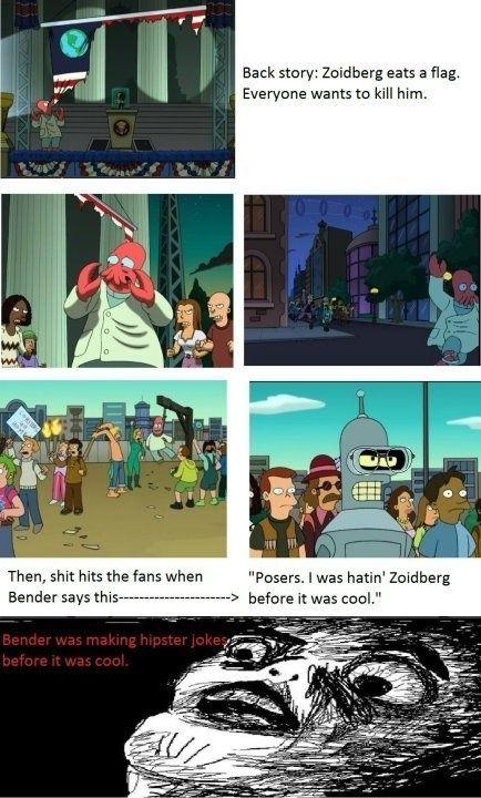 Bender gjorde hipster vittigheder f�r det var cool