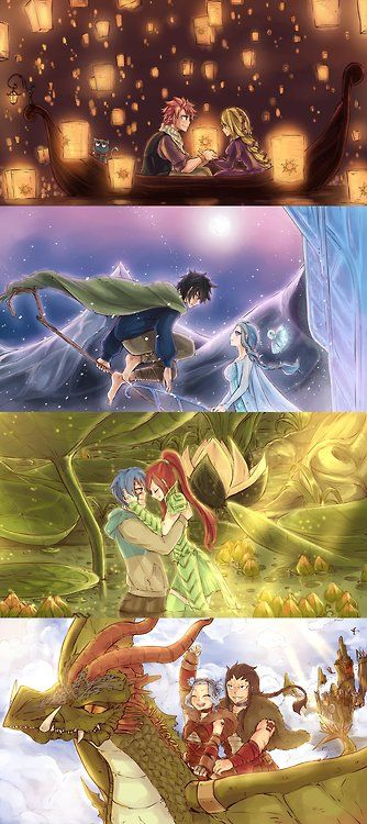 "Fairy Tail. Natsu and Lucy in ""Tangled"", Gray and Juvia in ""Rise of the Guardians"" and Erza and Jellal i think in ""Epic"" and Gajeel and Levy on a dragon :P"