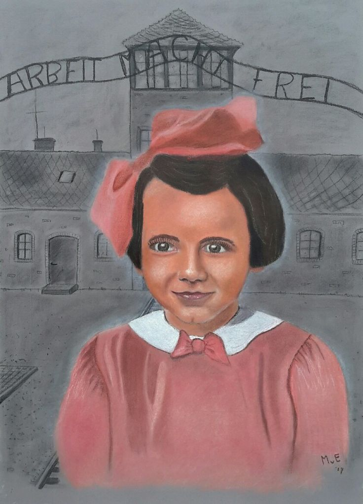 Ze is af! Het prachtige joodse meisje Edith Rosey Beek, zonder haar ouders en broer naar Auschwitz gestuurd, vermoord toen ze nog maar 9 jaar oud was. Laten we haar niet vergeten... Combinatie van softpastel en houtskool/potlood.