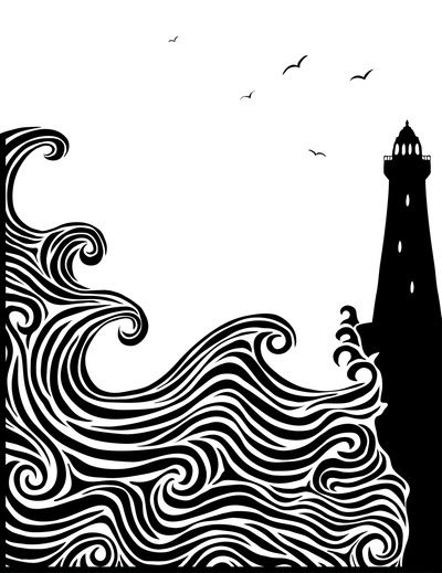 Collaborative project Add quote in the background about Lighthouse status Large canvas with black marker Have only light from lighthouse as colour