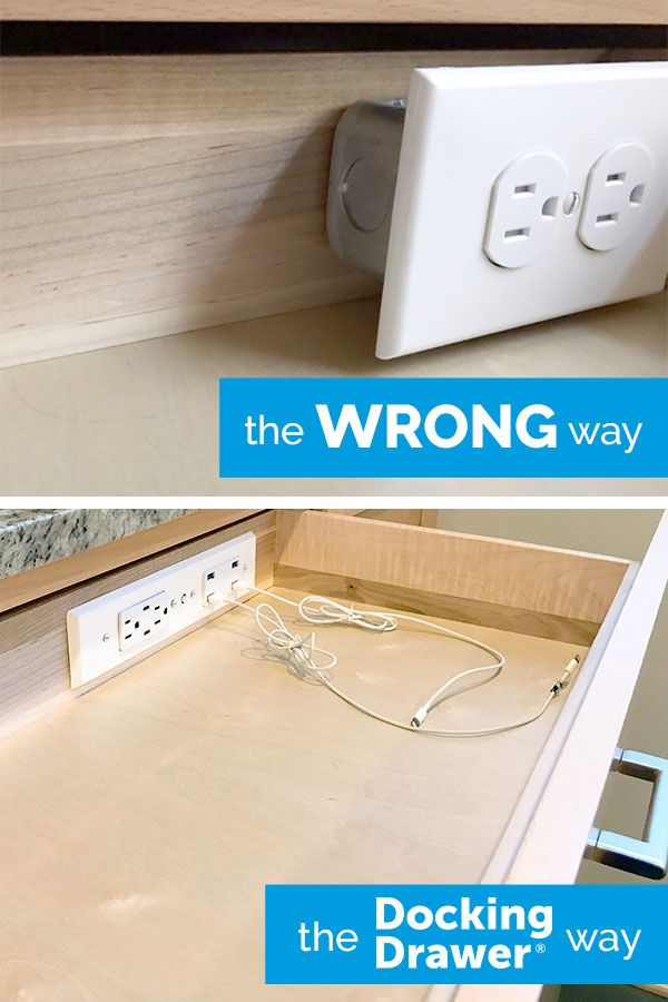 Docking Drawer Outlets Save The Day In 2020 Bathroom Outlet Drawers Custom Cabinetry