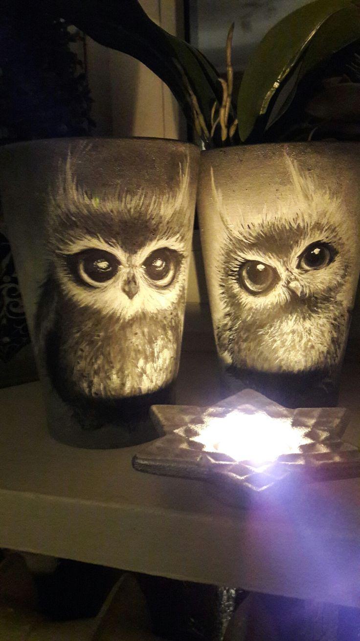 Owls#pot#doniczka#handmade
