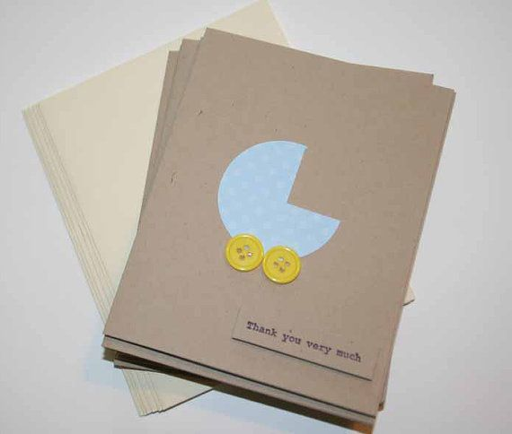 Baby Shower Thank You Card Set boy 5 cards by Glued2Paper on Etsy