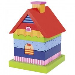 Wooden Stacking House By Goki For Toddlers Colourful Toys In Stock