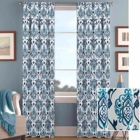 Better Homes And Gardens Damask Curtain Panel Walmart