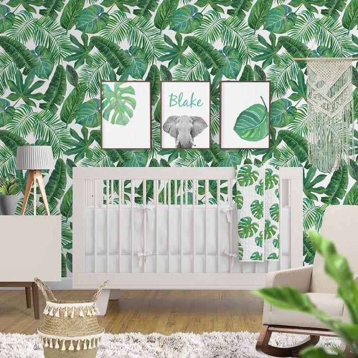 Removable Wallpaper Tropical Palm Leaf Banana Leaf Safari