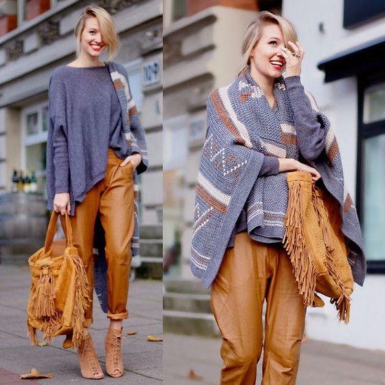 Zara Knit, H&M Cognac Pants, Zara Aztek Knit, Zara Fringe Bag, Zara Booties