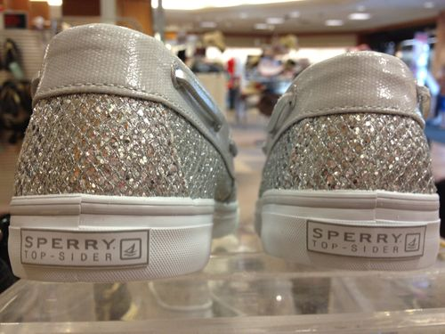 Sparkly sperrys blue