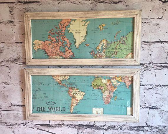 World Map art framed world map aqua map art set of 2