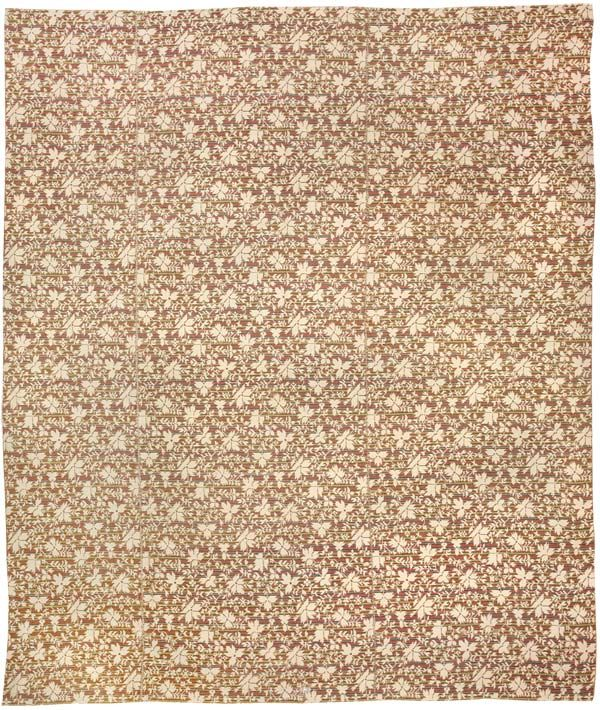 Ingrain Rug, America, Late 19th Century - The floral repeat design of this charming antique Ingrain carpet relates more to American textiles and wallpapers of the late nineteenth century than to traditional carpet design.