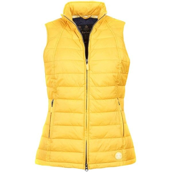 Women's Barbour Iris Quilted Gilet - Canary Yellow (180 CAD) ❤ liked on Polyvore featuring outerwear, vests, lightweight quilted vest, yellow waistcoat, barbour, lightweight vest and quilted vests