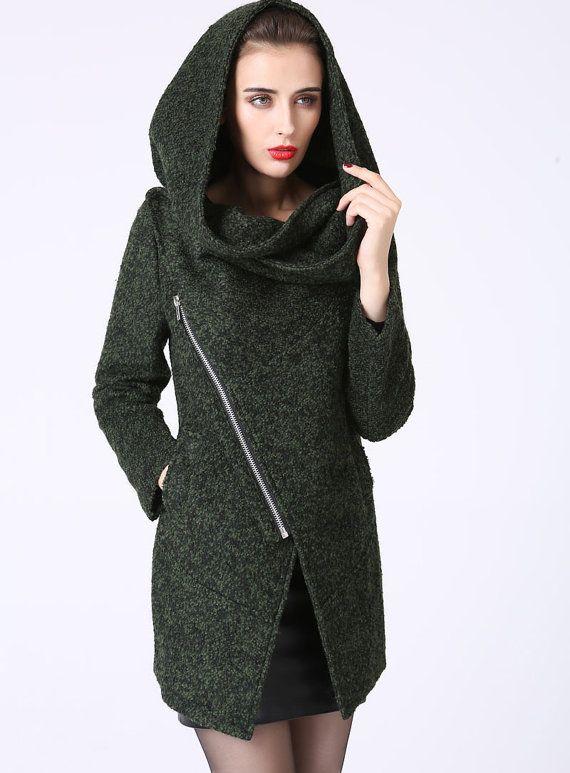 Modern Mini Wool Coat with Asymmetrical Front Zipper by xiaolizi